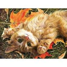 Милый Кот алмазная вышивка круг устройство живопись стразы картина