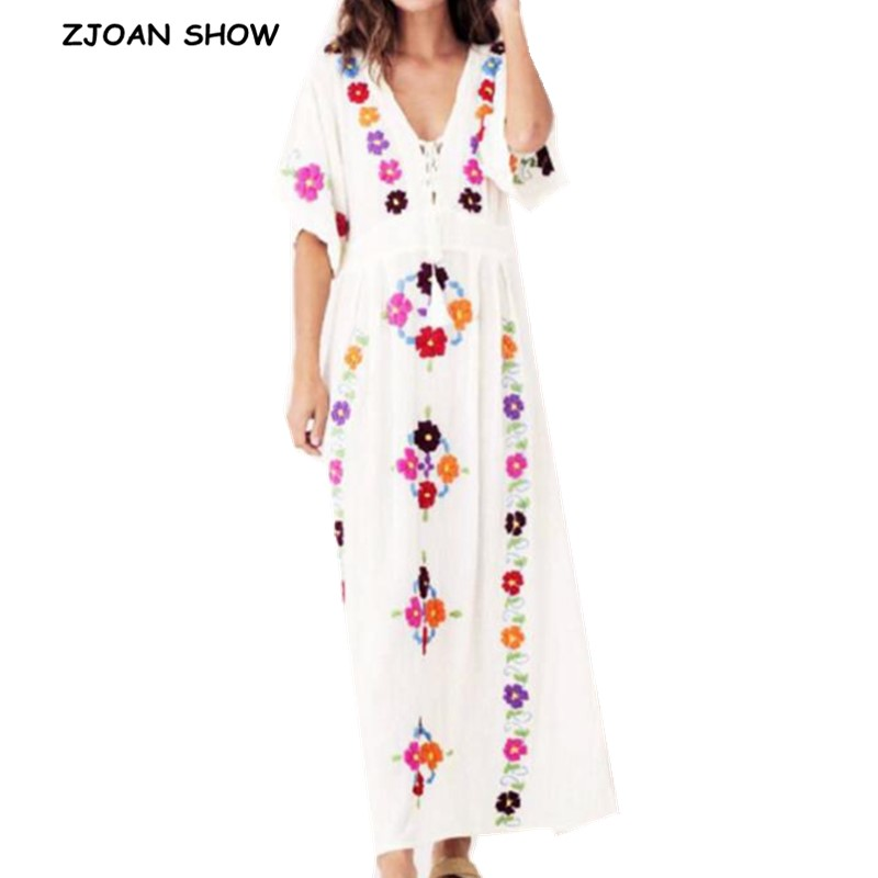 2019 New Bohemian Colored Flower Embroidery Short Sleeve Dress Women V neck Cross Lacing Up Stream