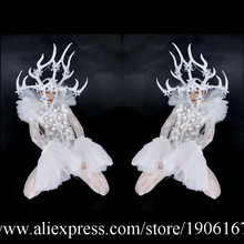 Led Antlers Stage Ballroom Costume Led Light Up Antlers Head Clothing Party Christmas Performance DJ Singer