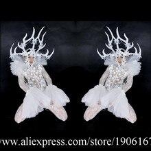 Светодиодные рога этап Костюмы для бальных танцев костюм со светодиодной подсветкой рога голову Костюмы вечерние Рождество производительность DJ певица одежда костюм для танцев