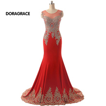 robe de soiree Real Photos Romantic Applique Beaded Mermaid Evening Dresses Long Prom Gowns DGE033