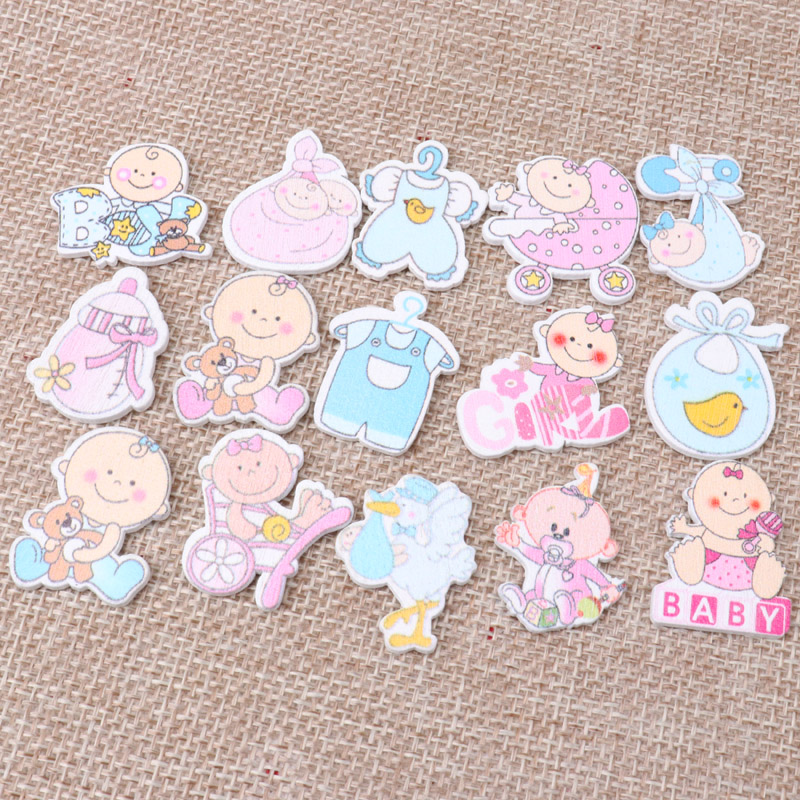 25mm 20pcs Mixed No Holes Pink Blue Cute Baby Painting Wooden Handmade DIY Scrapbooking Craft Accessories MZ49