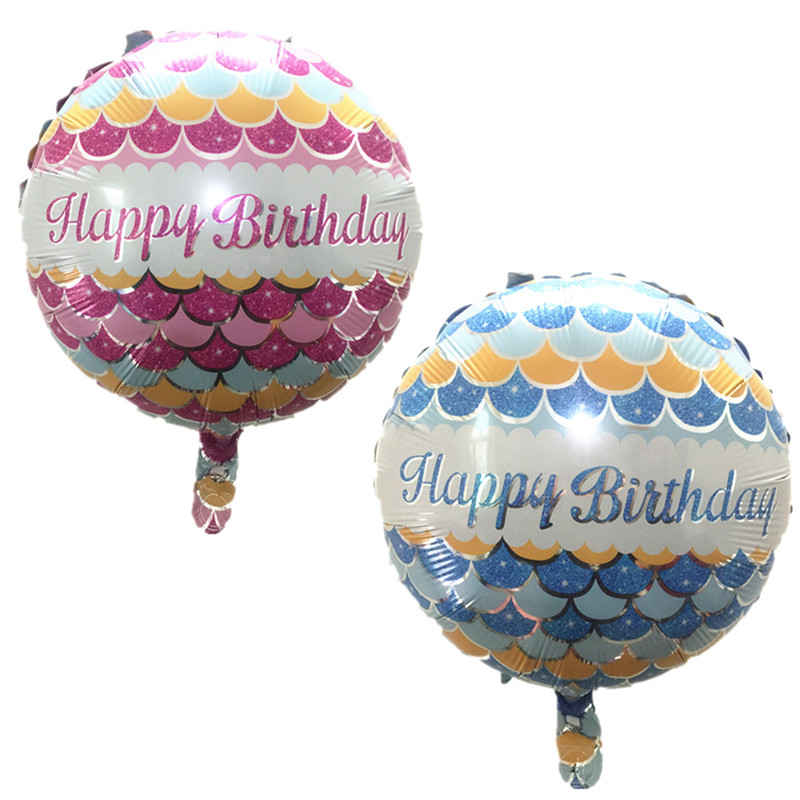 BINGTINA round Happy Birthday balloons holiday party decoration balloon toys for children wholesale globos Fish pattern ballons