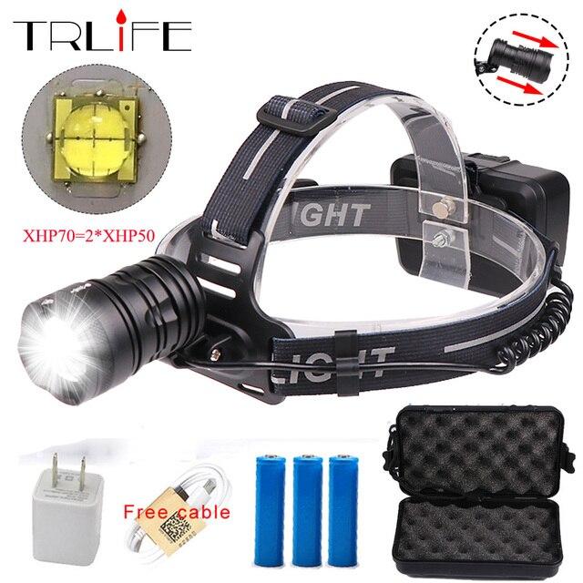 50W Chip XHP70 LED Headlight 45000Lum XHP50 Led Headlamps Zoom Head Lamp Flashlight Torch Lantern Head light use 3*18650 battery