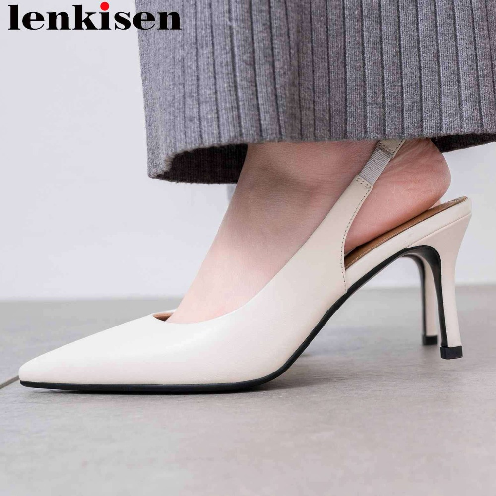 Lenkisen office lady stiletto 7cm heels genuine leather slip on pointed toe celebrity party slingback dress
