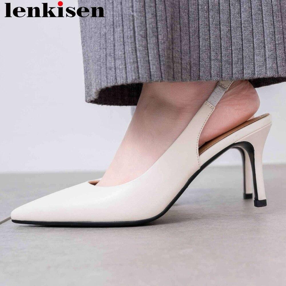 Lenkisen Oficina señora stiletto 7 cm tacones de cuero genuino deslizamiento en el dedo del pie puntiagudos celebrity partido slingback vestido sexy pasarela zapato l56-in Sandalias de mujer from zapatos    1