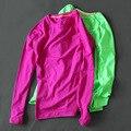 2017 Mujeres Calientes de la Camiseta de Manga Larga de secado rápido Delgado alto Estiramiento de Fitness Camiseta Para Mujer Chic Tops Sml