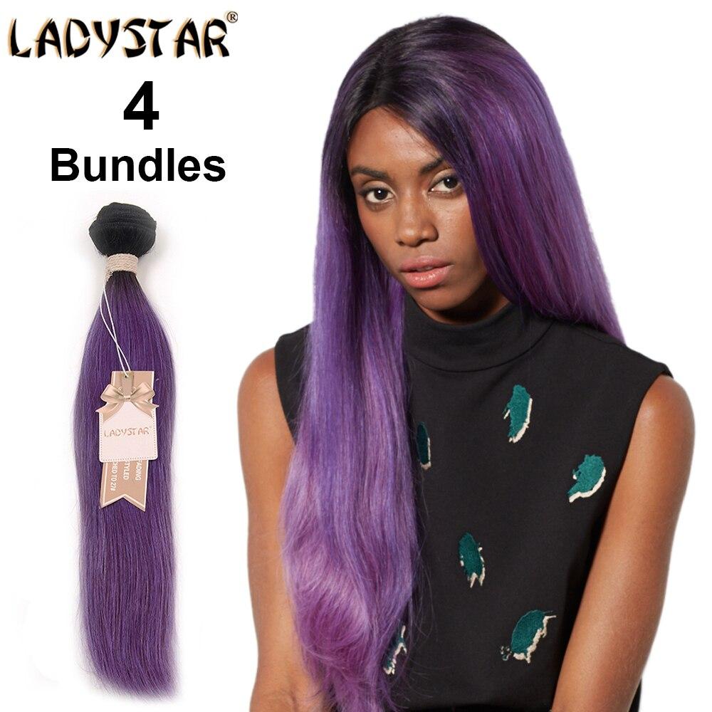 Ladystar Ombre Purple Weave 4 Bundles Straight Hair Brazilian