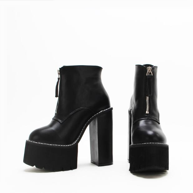 bfbd9817dfe Detail Feedback Questions about Wholesale Winter Women Boots Zipper Front  Suqure Heels Black Leather Women Boots 2018 Platform Thick Buttom Rubber  Boot Rain ...