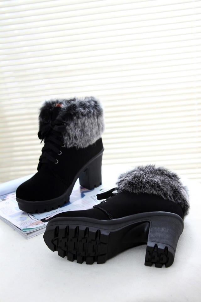 Botas Señoras marrón Cálido 2016 Negro Moda Pieles Mujer Zapatos Invierno Plataforma Altos Encaje Animales Mujeres Tacones up Botines De Británicas xFn7HRPx8