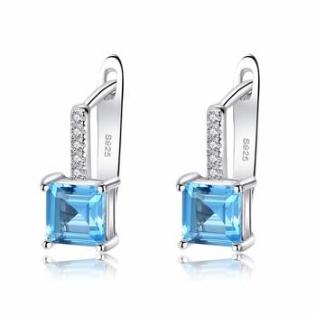Sky Blue Topaz Gemstone Stud Earrings for Women Solid 925 Sterling Silver Fashion Wholesale Jewellery Wedding Gift SE9108 jewellery