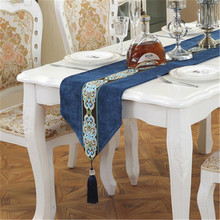 SBB New China Style concise Table Runners European luxury chenille Home Decoration corduroy lace table flags Countryside