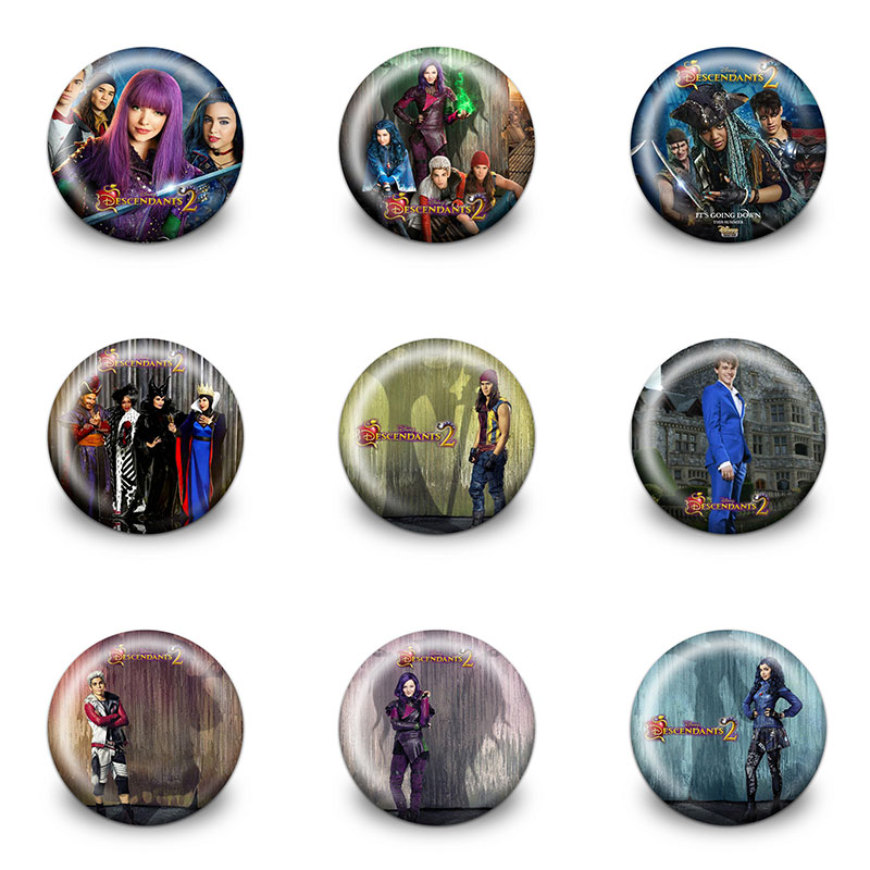 New Arrival Hot 9pcs Descendants Cartoon Pins Buttons Badges Round Badges Fashion Bags Parts Accessories Party Children Gifts