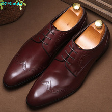 2019 New Arrival Brogue Shoes Men Genuine Leather Pointed Toe Lace-up Men Formal Dress Shoes Fashion Office Shoes 2017 new spring fashion men pointed toe brogue shoes lace up genuine leather casual shoes high quality thick sole shoes wa 50