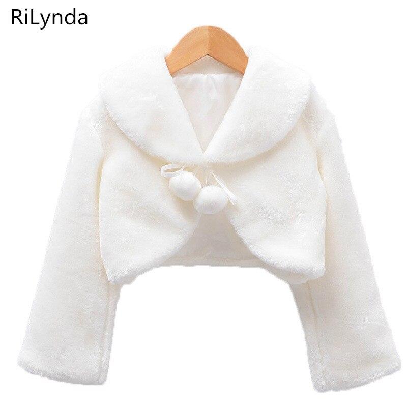 Girls Faux Fur Bow Shoulder Cape Bolero Wrap Shrug Jacket Wedding Party Princess