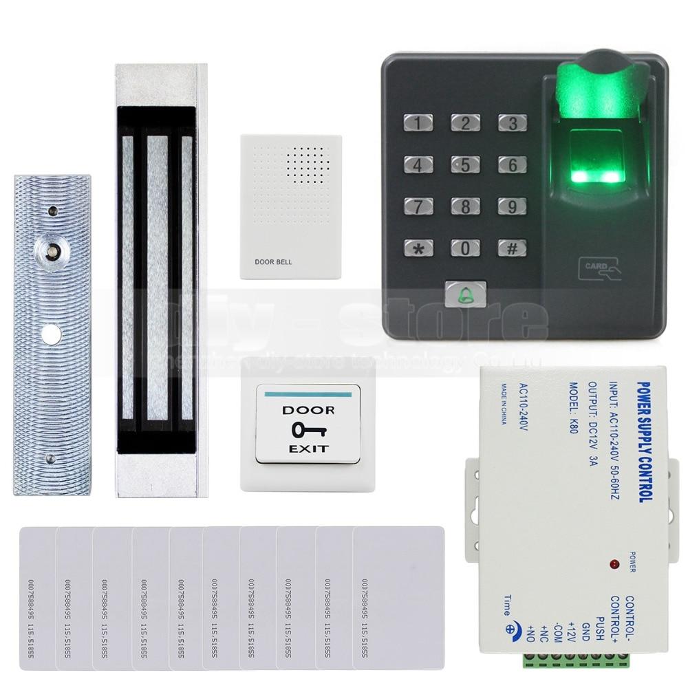 DIYSECUR Biometric Fingerprint RFID 125KHz Password Keypad Door Access Control System Kit + Electric Magnetic Lock + Doorbell diysecur magnetic lock door lock 125khz rfid password keypad access control system security kit for home office
