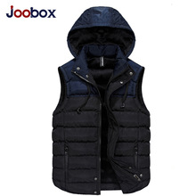 JOOBOX 2017 New Winter Mens Sleeveless Jacket Vest Detachable Hat Autumn Cotton-padded Vest Male Vest Mens Casual Warm Waistcoat