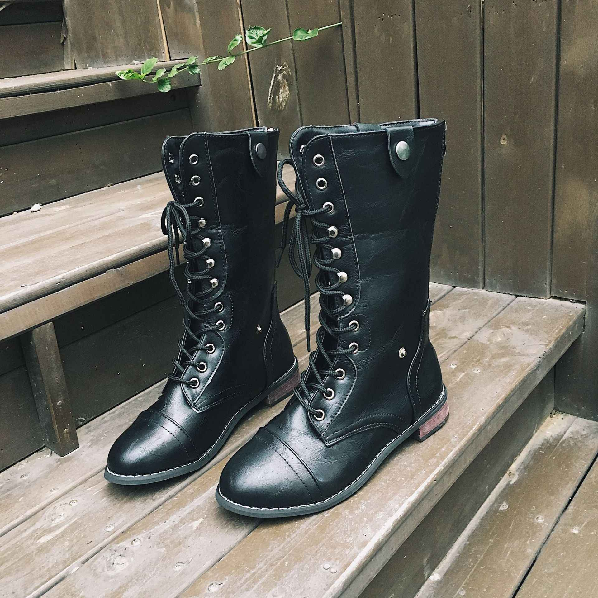 Martin çizmeler ayakkabı bayanlar ayak bileği düz motosiklet Boots ayakkabı artı boyutu 35-43 İlkbahar sonbahar kadınlar Lace Up bandaj