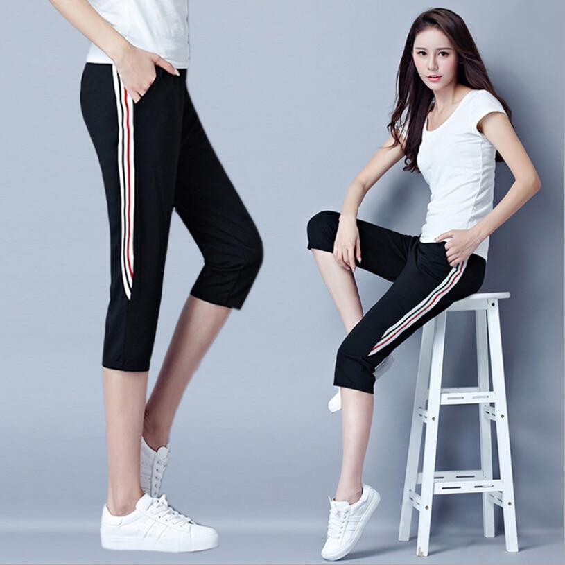 2018 Side fringe casual cropped pants leggings women sportwear stretch calf-length pants black color casual fitness pants M-4XL