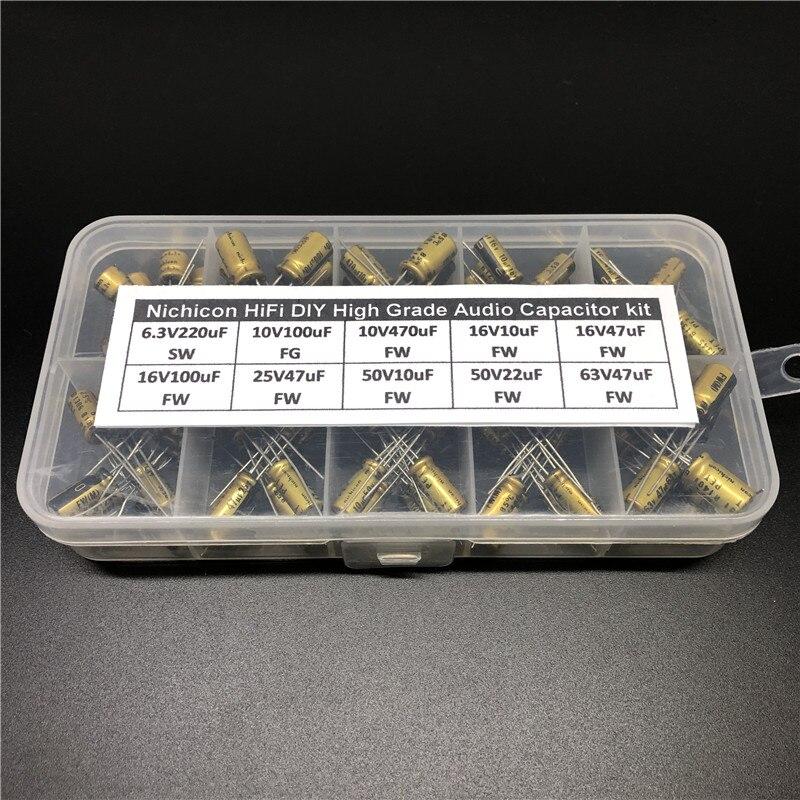 Hifi DIY Alto Grau de Áudio Nichicon capacitor assorted kit caixa variedade 6.3V ~ 63 V, 10uF ~ 470uF 100pcs totais