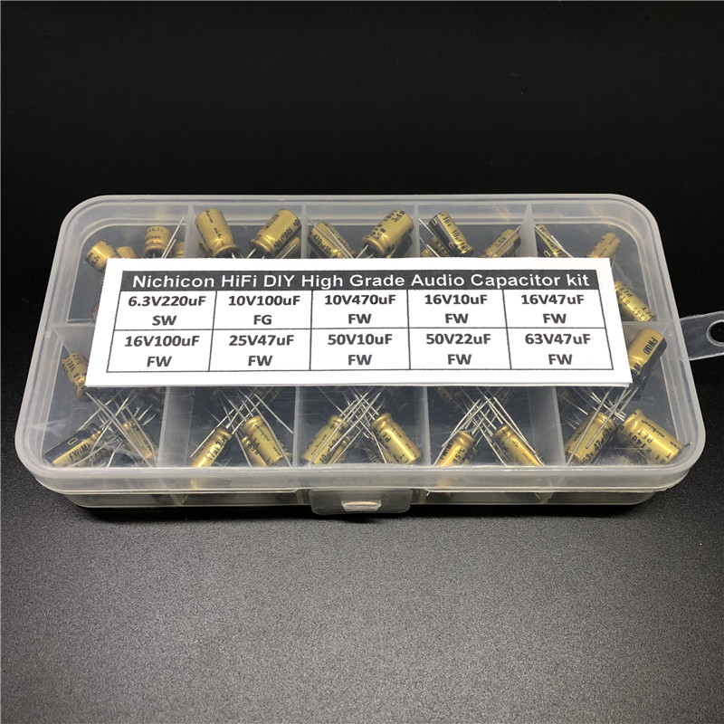Hifi DIY Alto Grau de Áudio Nichicon capacitor assorted kit caixa variedade 6.3V ~ 63 V, 10uF ~ 470uF 100pcs totais