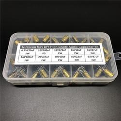 Hifi DIY High Grade Nichicon Audio capacitor ชุดสารพันกล่อง assortment 6.3V ~ 63 V, 10uF ~ 470uF รวม 100pcs