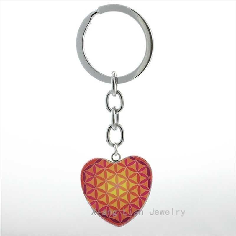 Классический цветок брелок жизнь Мода творчество мандала цветок сердце кулон брелок кольцо буддизм дзен ювелирные изделия женщин HP322