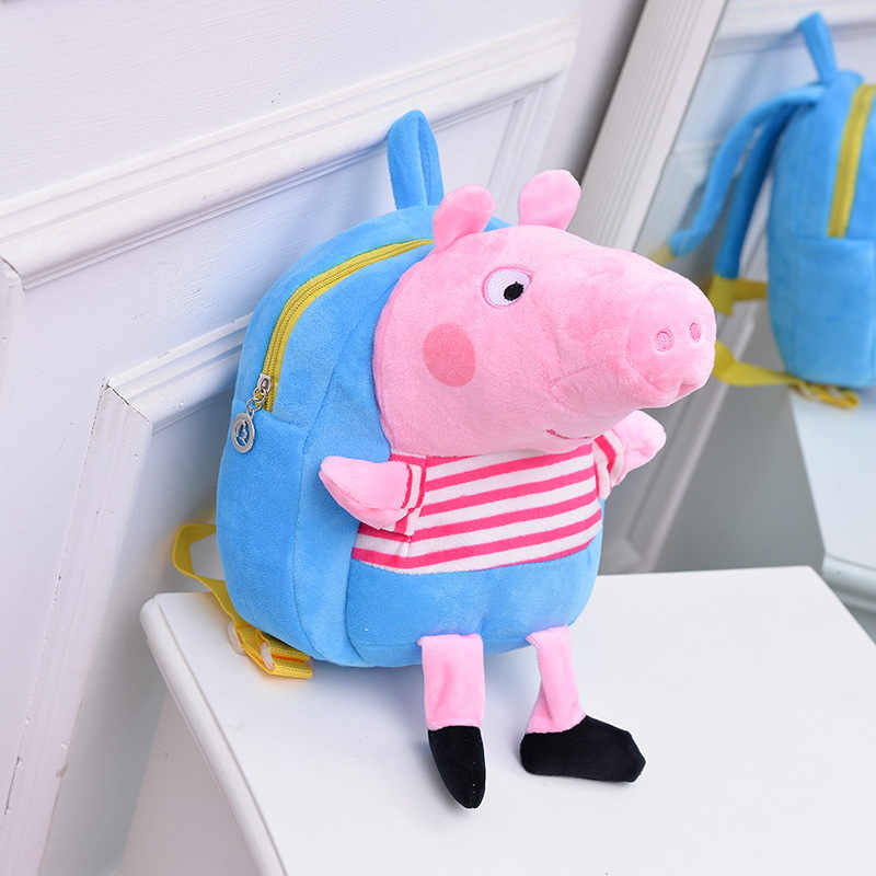 Peppa pig saco menina dos desenhos animados pec crianças George porco porco brinquedo de pelúcia boneca bonito menina mochila de pelúcia para enviar as crianças presentes saco de criança