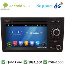 Quad Core 7″ HD 1024*600 Android 5.1.1 Car DVD Player Radio Stereo With 3G/4G WIFI BT GPS Map USB For Audi A4 S4 RS4 2002-2008