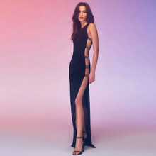 INDRESSME Sexy Hollow Out Backless O Neck Women Bandage Dress Elegant Black Floor Length Bodycon Women Party Dress Vestidos 2018