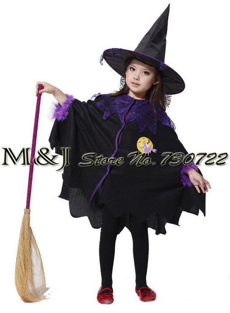 Free shipping!Halloween children cosplay costume Black flying female wizard dress witch suit The elves whimsy