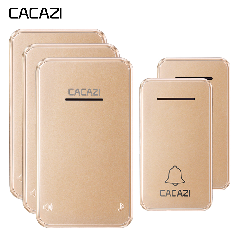 CACAZI Wireless Doorbell Waterproof Self powered 2 No battery Button 3 Receiver Led light Cordless DoorBell
