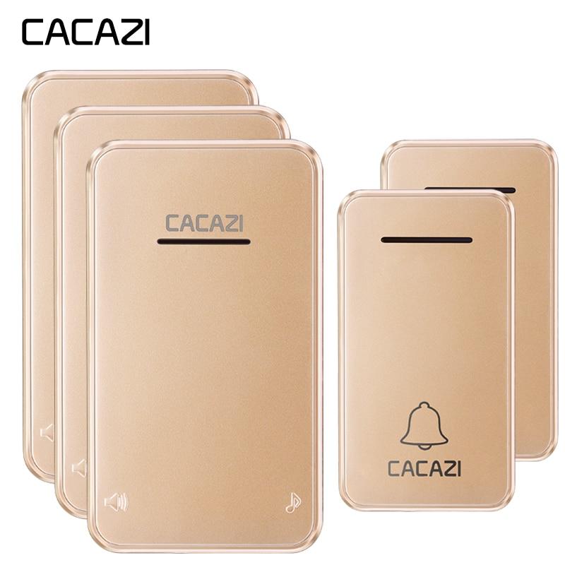 CACAZI Wireless Doorbell Waterproof Self powered 2 No battery Button 3 Receiver Led light Cordless DoorBell