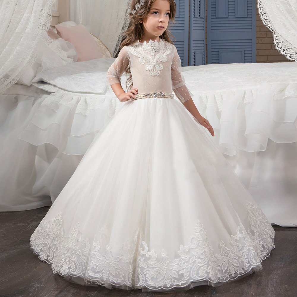 2017 Lace Flower Girl Dresses High Quality Tulle Flowers Appliques Ball Gowns Elegant Girls First Communion Dresses Pageant Gown blue pageant dresses for little girls a line spaghetti straps solid appliques crystal lace up flower girl first communion gowns