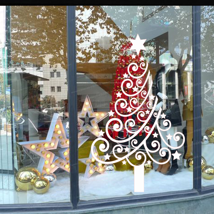 Creative christmas tree vinyl wall decal home decor glass window diy art mural removable wall stickers m 4-in Wall Stickers from Home \u0026 Garden on ... & Creative christmas tree vinyl wall decal home decor glass window ...