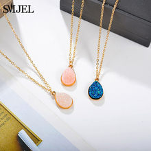 SMJEL Geomtric Stone Druzy Charm Necklace Choker Fashion Resin Crystal Stone Necklace Brand Jewelry for Women Girls(China)