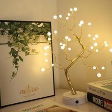 HobbyLane светодиодный светильник в форме дерева из медной проволоки, ночник с сенсорным выключателем, декоративный USB светодиодный светильник, Настольный светильник