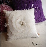 395 35cm Princess Home Tiffany Velvet Cushion With Filling Wholesale Freeshipping Cream Color