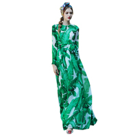 Women S Plus Size XXXL Summer Dresses Long Sleeve Green Leaf Printed Runway Long Stunning Cute