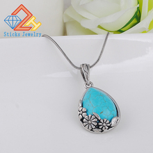 все цены на Fashion natural stone turquoise blue teardrop-shaped pendant crystal gem stone agate necklace wholesale / retail free shipping онлайн