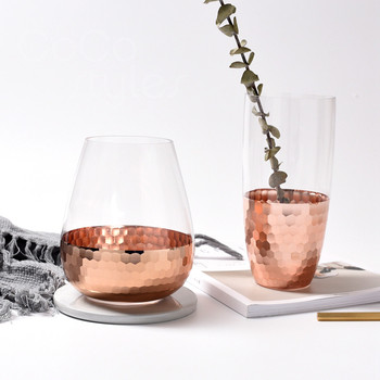 Rose Gold Decor | Cocostyles InsFashion Entry Lux Top Quantity Glass Vase With Rose Gold Copper Hammer Point Base For European Style Home Decor