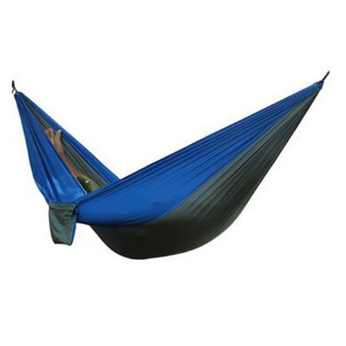 2 People Portable Parachute Hammock for outdoor CampingGray with blue edge 270*140 cm 2 people portable parachute hammock outdoor survival camping hammocks garden leisure travel double hanging swing 2 6m 1 4m 3m 2m
