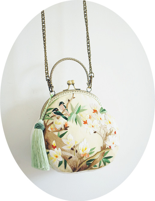 Angelatracy 2018 Limited Quantity Bag Women Handmade Bag Silk Embroidery Floral Handbag Bird Lotus Mini Lady