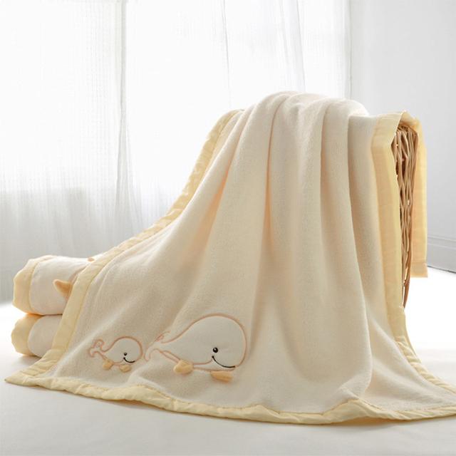 Bebé recién nacido sólido grueso de coral polar alfombra alfombra bordada blanco al por mayor de dibujos animados para niños de coral mantas de bebé caliente