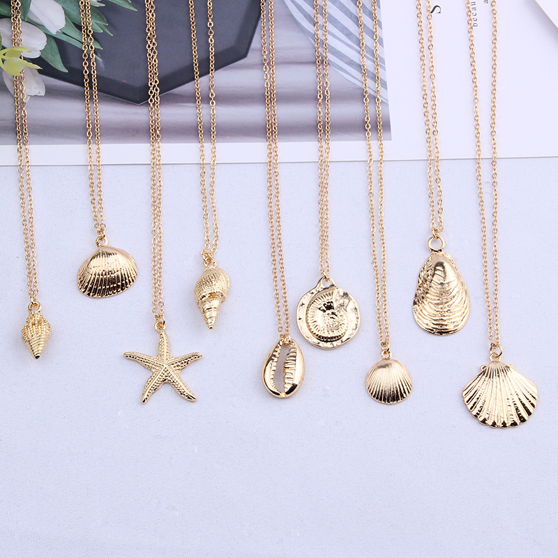 New Gold color Alloy Cowrie Shell Necklace for Women Conch Chain Pendant Necklace Summer Jewelry Starfish Collar collier femme