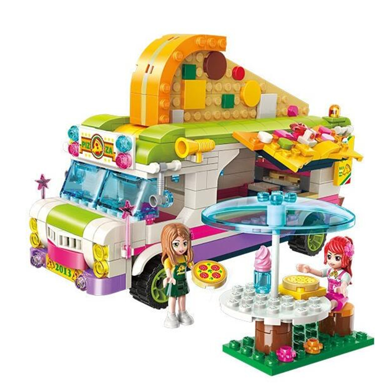 City Girls Princess Pizza Dining Car Bus Building Blocks Toys Sets Bricks Model Kids Classic Compatible with Legoingly Friends
