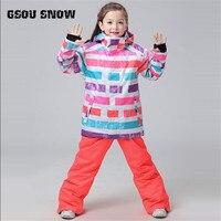 Gsou Snow Girl Ski Waterproof Windproof Snow Jacket+Pants Windproof Ski Jackets Girls Winter Snow Suit Kid's Outdoor Wear