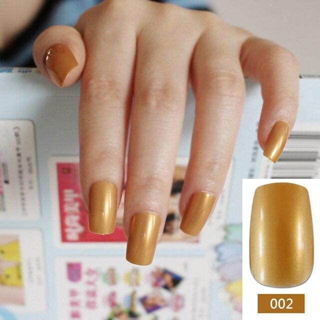 24pcs/kit Long Candy Fake Nails Shiny Gold Nail Art Decoration Tips ...