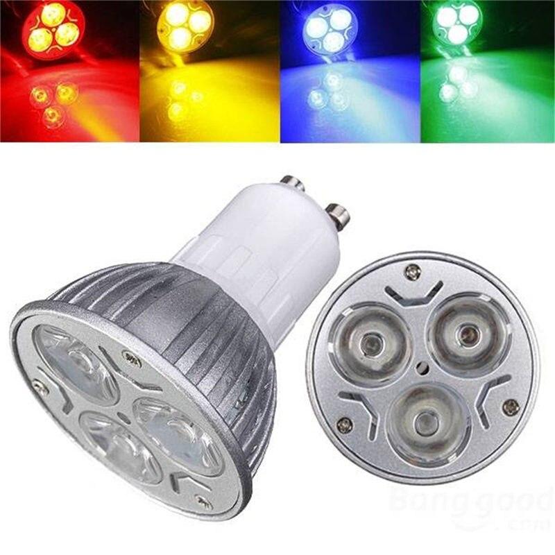 LED Light Bulb GU10 3W 3 LED Spot Light Bulb High Power Aluminum Alloy Spotlight Lamp Bulb Red/Blue/Yellow/Green Lighting AC220V