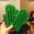 3D dos desenhos animados de frutas verão fresco nuvens íris cactus verde folha de silicone suave caso de telefone celular tampa da pele para o iphone 5s 6 6 s mais 7